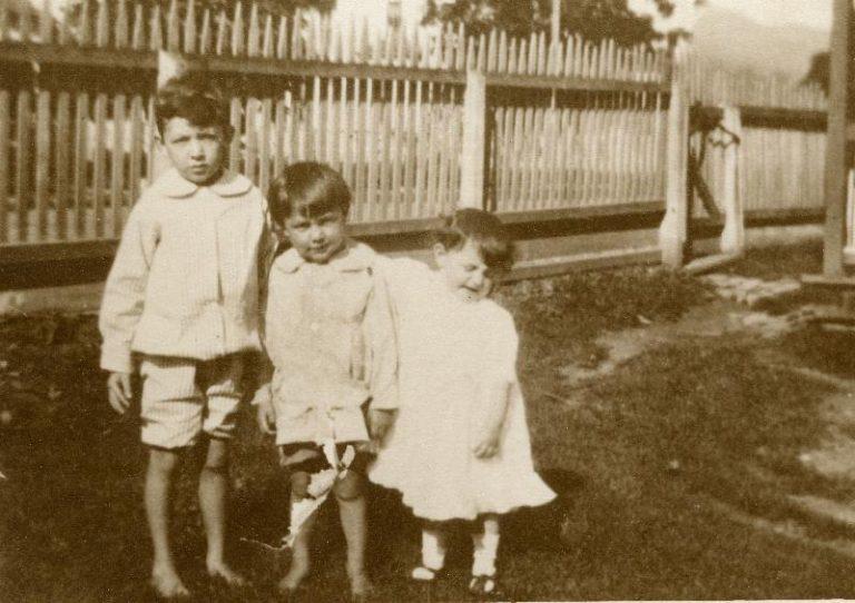 Children Phil McComb, Robert McComb, Elizabeth McComb in Front Yard of McComb House in Huntersville, W.Va. - ca. 1918