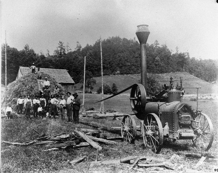 Men Running a Portable Steam Engine on Farm near Huntersville, W.Va. - Ca. 1905